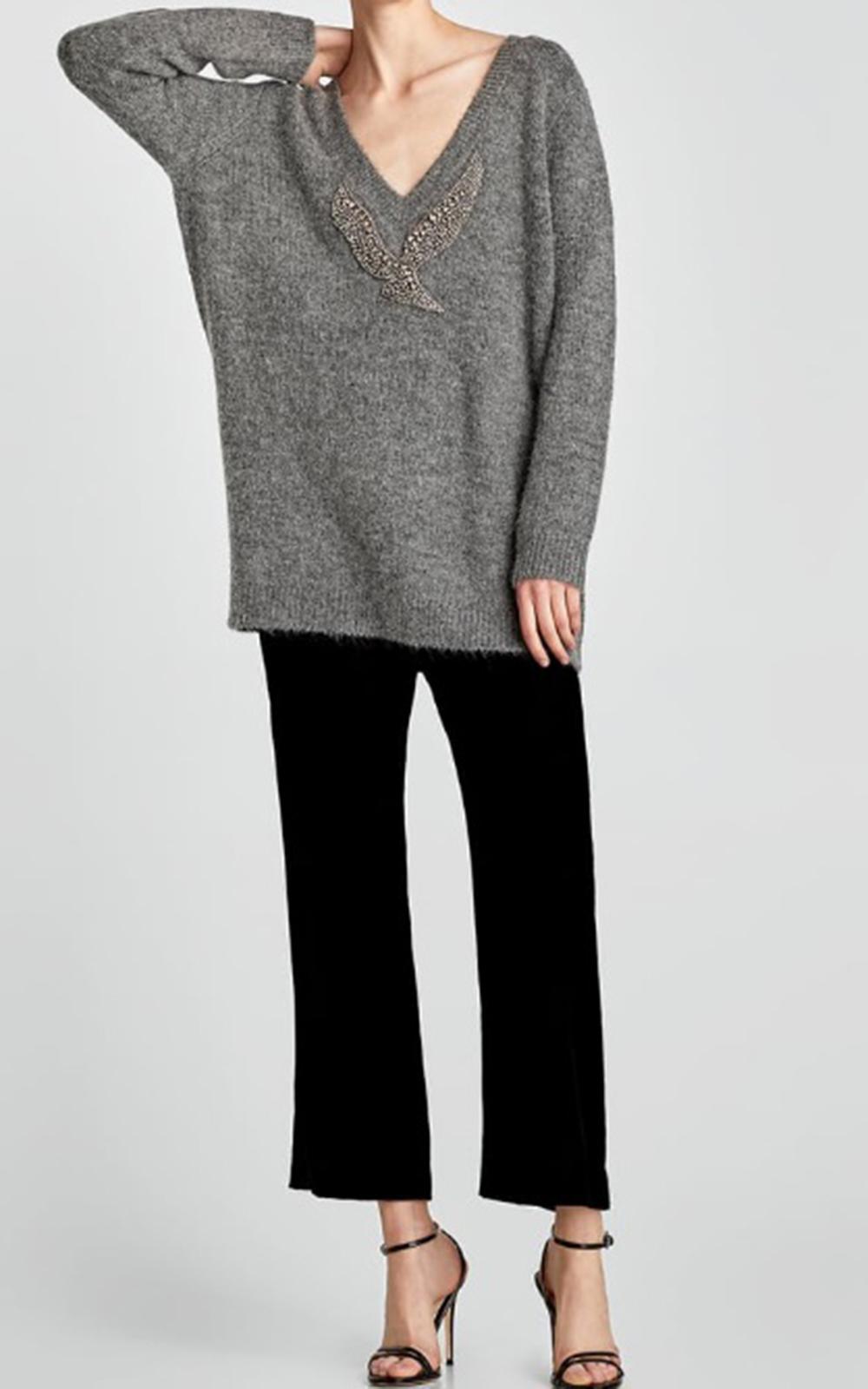 Pulover-cu-pasăre-aplicată,-Zara