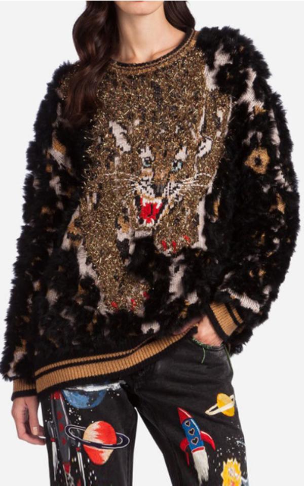 Pulover-din-lână,-cu-detalii-din-lame,-Dolce-&-Gabbana